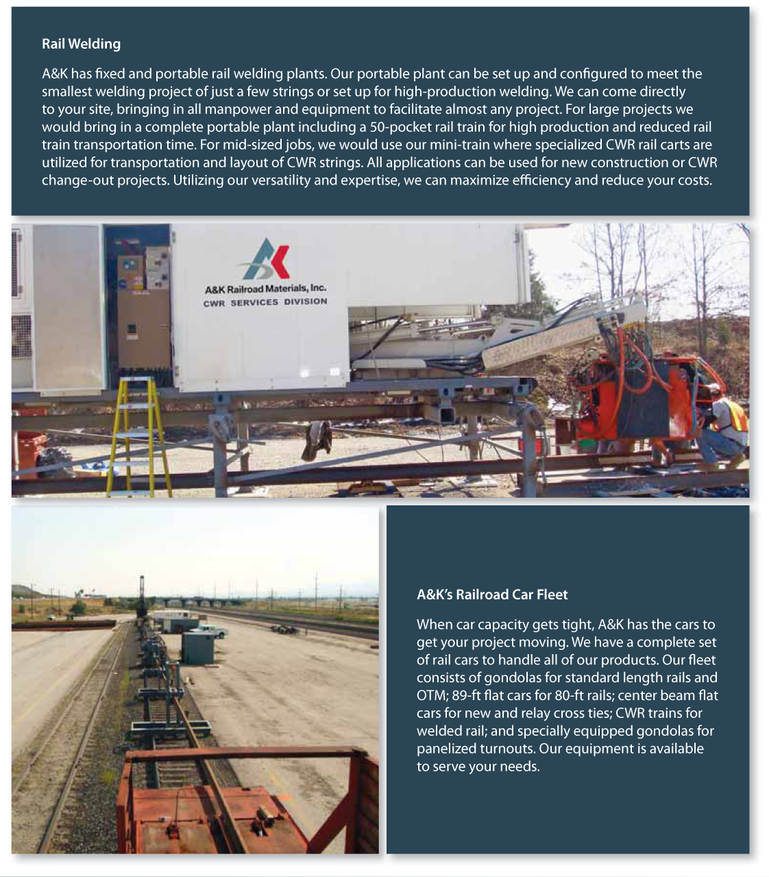 Continuous Welded Rail (CWR) | A&K Railroad Materials, Inc